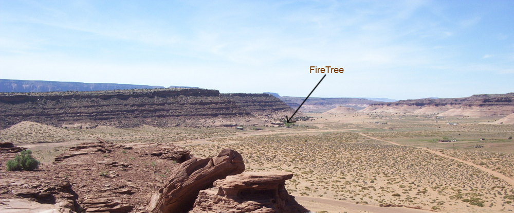 FireTree Inn from Hat Rock In Monument Valley